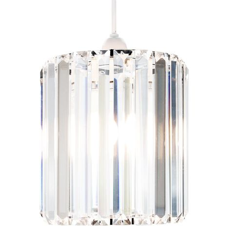 Modern Designer Clear Glass Pendant Light Shade with Chrome Metal Frame by Happy Homewares