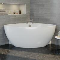 Modern Designer Corner Freestanding Bath Acrylic Bathtub 1510mm Built-In Waste