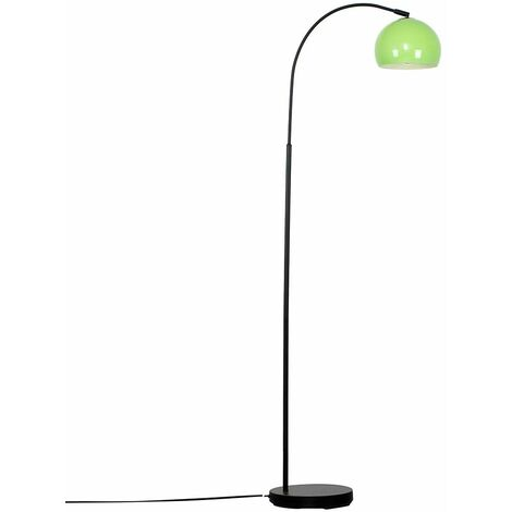 Modern Designer Curved Stem Floor Lamp With A Arco Metal Dome Light Shade
