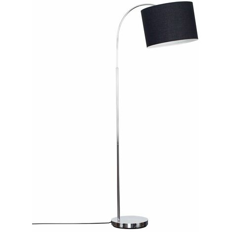 Modern Designer Curved Stem Floor Lamp with a Cotton Light Shade - Beige