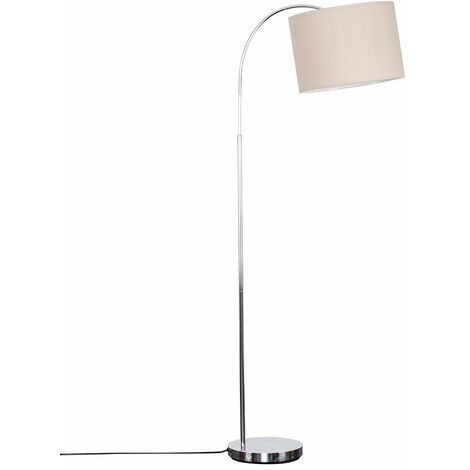 Modern Designer Curved Stem Floor Lamp with a Cotton Light Shade - Beige - Silver