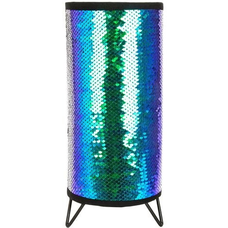 Modern Designer Emerald Blue and Black Shiny Sequin Table Lamp with Metal Feet by Happy Homewares