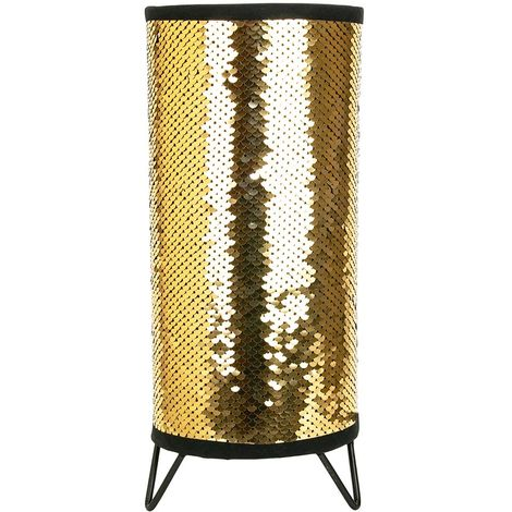 Modern Designer Gold and Black Shiny Sequin Table Lamp with Tripod Metal Feet by Happy Homewares