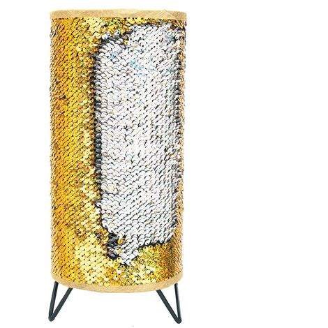Modern Designer Gold and Silver Shiny Sequin Table Lamp with Tripod Metal Feet by Happy Homewares