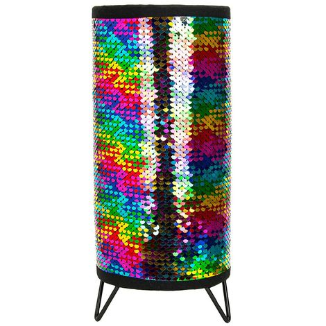 Modern Designer Multi-Coloured Shiny Sequin Table Lamp with Metal Tripod Feet by Happy Homewares