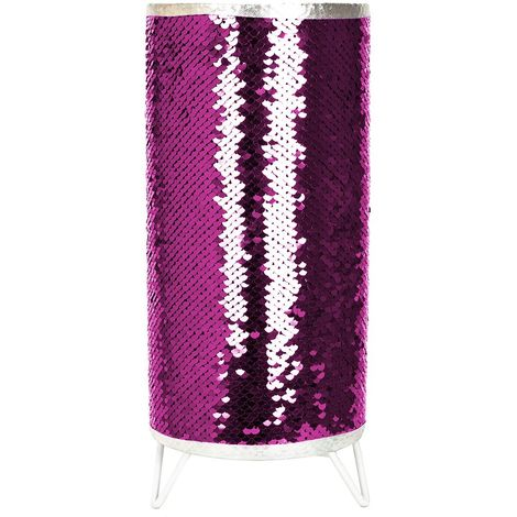 Modern Designer Pink and Silver Shiny Sequin Table Lamp with Tripod Metal Feet by Happy Homewares