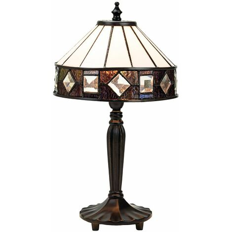 Modern Designer Tiffany Table Lamp with Amber and Purple Stained Glass Trim by Happy Homewares