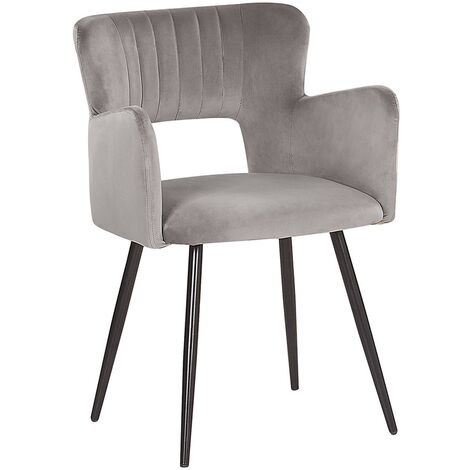 Modern Dining Chair Velvet Seat with Armrests Tufted Back Grey Sanilac