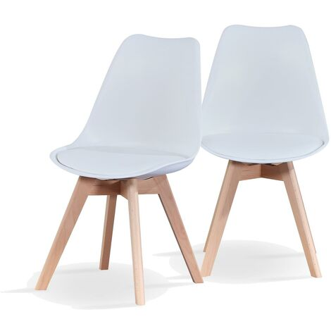 Modern Dining Chairs with Padded Seat x 2 - White