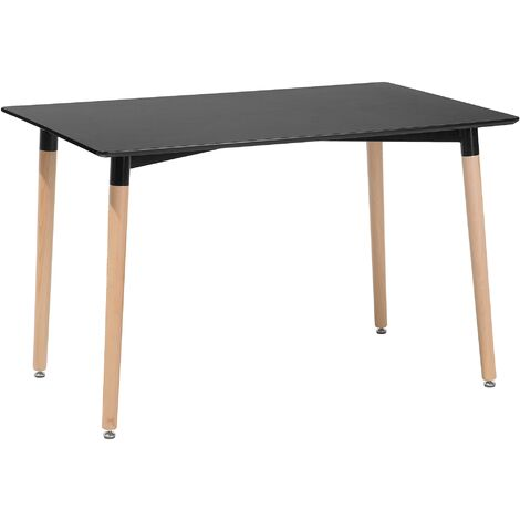 Modern Dining Table Black Rectangular Tabletop Solid Wood Legs Kitchen Fly