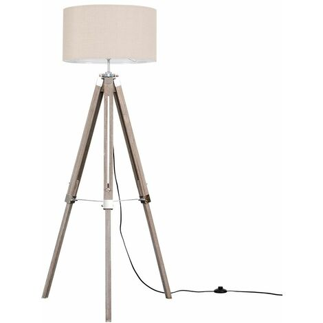Modern Distressed Wood & Tripod Floor Lamp with a Cotton Light Shade