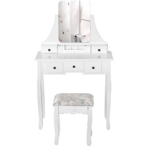 Modern Dressing Table, Makeup Table with 1 Stool, 360° Swivel Mirror, 5 Drawers, Removable Makeup Tray, for Bedroom