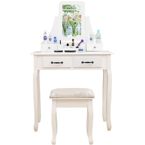 Modern Dressing Table Makeup Table with Mirror 4 Drawers Storage Stool White