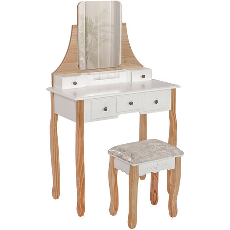 Modern dressing table with stool -Color white + wood 80 * 40 * 141cm