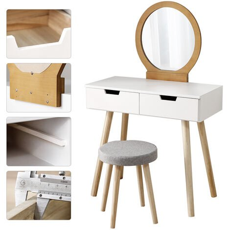 Modern dressing table with white stool + colored log 80 × 40 × 128CM