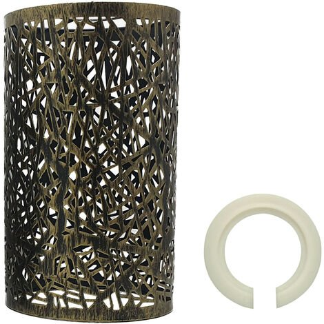 """main image of """"Modern Drum Lampshade Brushed Brass Colour Retro Style"""""""