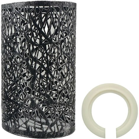 """main image of """"Modern Drum Lampshade Brushed Silver Colour Retro Style"""""""