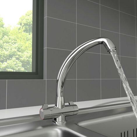 Modern Dual Twin Lever Tap Swivel Solid Brass Swivel Spout Mixer Kitchen Sink Faucet Chrome