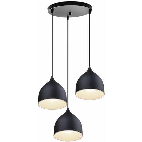 Modern E27 Ceiling Light Vintage Creative Pendant Lamp Retro 3 Heads Antique Pendant Light for Cafe Bar Barn Black