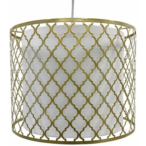 Modern Easy Fit Ceiling Light Shade Silver Gold Cut Out Design with White Diffuser
