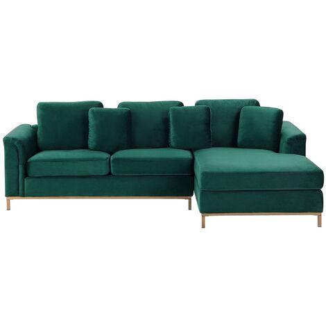 Modern Emerald Green Velvet Couch Corner Sofa Gold Legs Left Hand Oslo