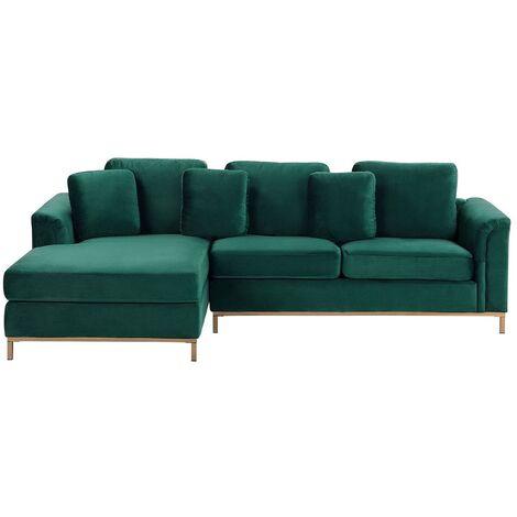 Modern Emerald Green Velvet Couch Corner Sofa Gold Legs Right Hand Oslo