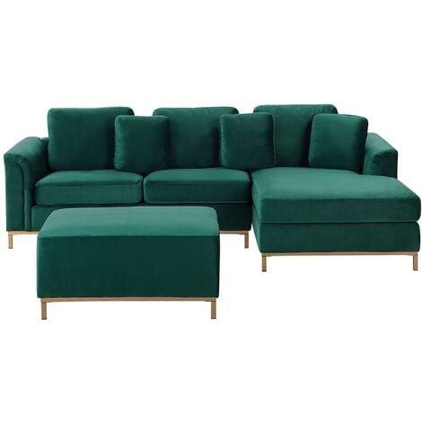 Modern Emerald Green Velvet Sectional Sofa with Ottoman Gold Legs Left Hand Oslo