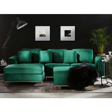 Modern Emerald Green Velvet Sectional Sofa with Ottoman Gold Legs Right Hand Oslo