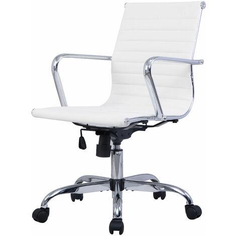 Attirant Modern Ergonomic Office Chair PU Leather Med Back Executive Computer Desk  White