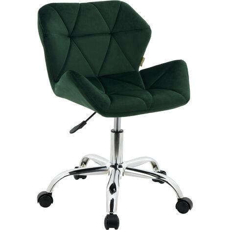 Modern Eris Padded Swivel Fabric Home Office Desk Computer Chair, Height Adjustable (Dark Green, Velvet)
