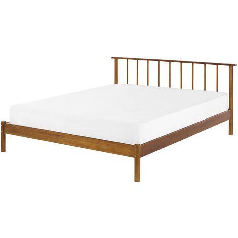 Modern EU King Size Bed Frame 5ft3 Headboard Light Pine Wood Barret