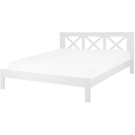 Modern EU King Size Wooden Bed Frame 6ft White Headboard Slats Tannay