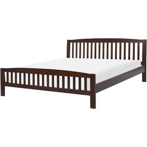 Modern EU Super King Size Bed Frame 6ft Dark Solid Wood Slatted Castres