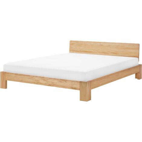 Modern EU Super King Wooden Bed Frame 6ft Light Wood Headboard Slats Royan