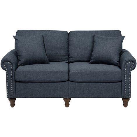 Modern Fabric 2 Seater Sofa Dark Grey Polyester Solid Wood Throw Pillows Otra