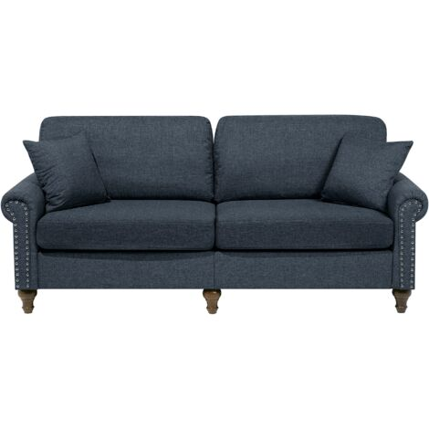 Modern Fabric 3 Seater Sofa Dark Grey Polyester Solid Wood Throw Pillows Otra