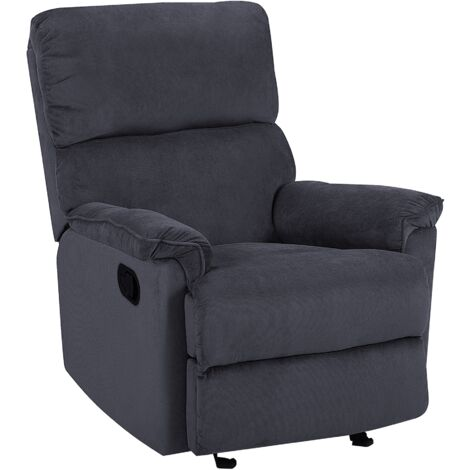Modern Fabric Armchair Dark Grey Polyester Upholstery with Footrest Everton