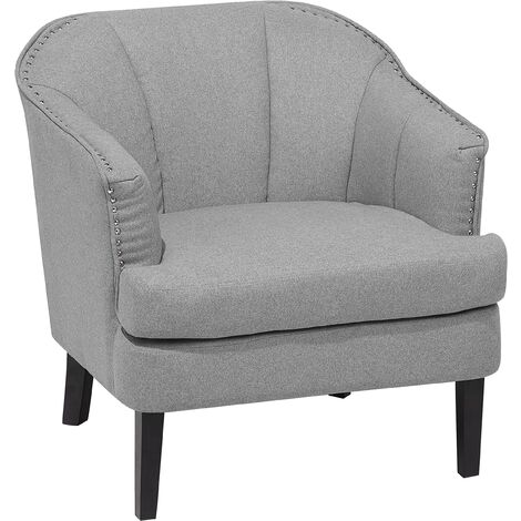 Modern Fabric Armchair Polyester Recessed Arms Solid Wood Light Grey Elverum