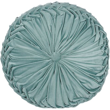 Modern Fabric Mint Green Polyester with Pleats Throw Pillow Round 40 cm Udala