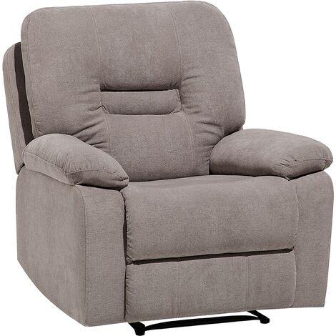 Modern Fabric Recliner Chair Manual Reclining Padded Armchair Beige Bergen