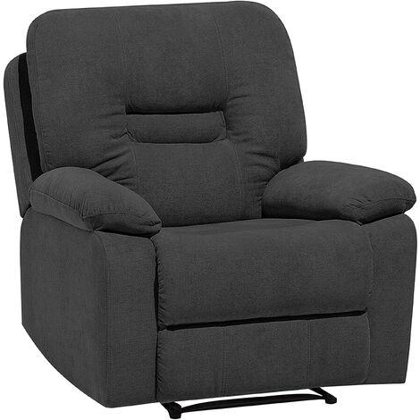 Modern Fabric Recliner Chair Manual Reclining Padded Armchair Grey Bergen