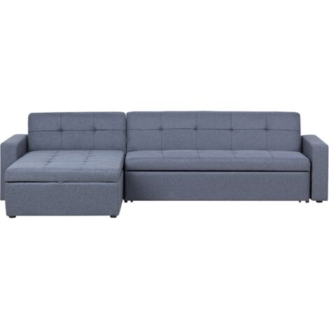 Modern Fabric Right Hand Corner Sofa Bed Grey Polyester Tufted Sleeper Laurila
