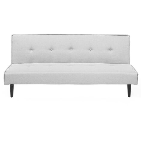 Modern Fabric Sofa 3 Seater Armless Couch Bed Buttoned Light Grey Visby
