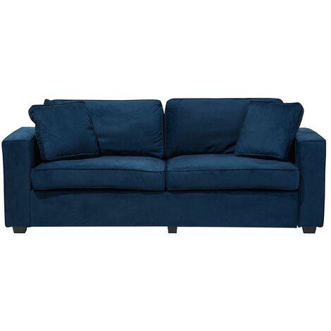 Modern Fabric Sofa 3 Seater Throw Cushions Track Arms Blue Falun