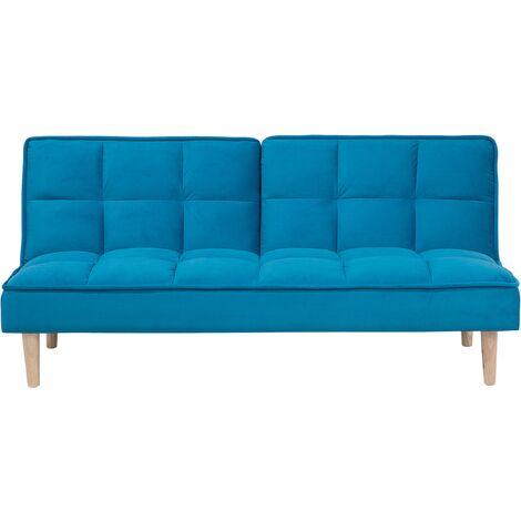 Modern Fabric Sofa Bed Click Clack Armless Living Room Blue Siljan