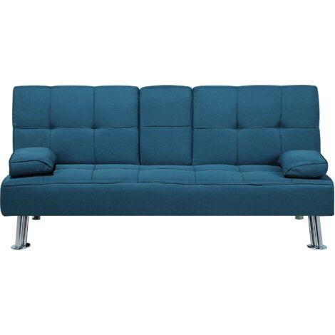 Modern Fabric Sofa Bed Click-clack Convertible Drop-down Table Blue Roxen