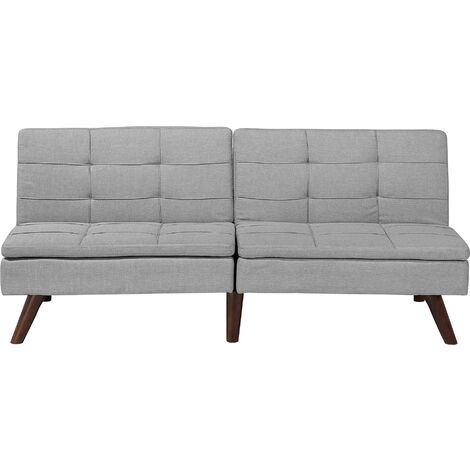 Modern Fabric Sofa Bed Light Grey Polyester Solid Wood Frame Reclining Ronne