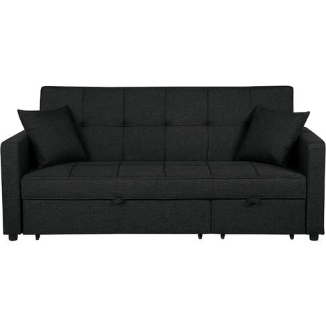 Modern Fabric Sofa Bed Polyester Extra Pillows Convertible Black Glomma