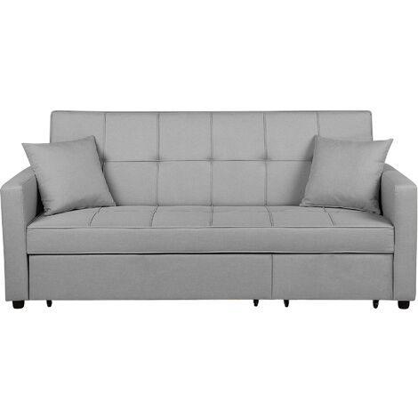 Modern Fabric Sofa Bed Polyester Extra Pillows Convertible Light Grey Glomma