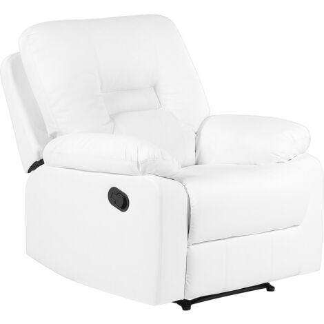 Modern Faux Leather Recliner Chair Manual Reclining Padded Armchair White Bergen